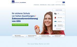 Die Website der AXA Versicherung