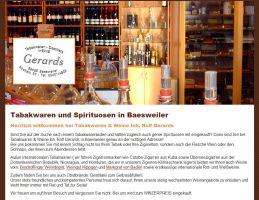 Die Website von Tabakwaren & Weine Gerards